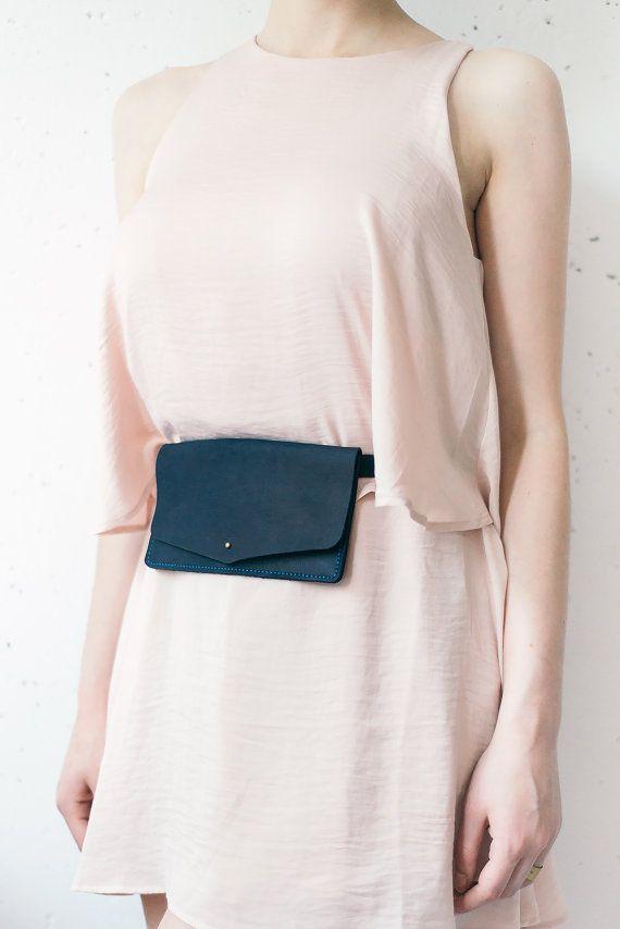 Belt bag leather navy blue, leather waist bag, leather waist pack, leather handmade belt bag, minimalist leather belt bag, belt pouch wallet