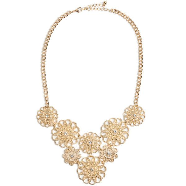 ShoeDazzle Necklaces Secret Gardens Necklace Womens Gold ❤ liked on Polyvore featuring jewelry, necklaces, gold, gold necklace, yellow gold necklace, flower necklaces, floral necklace and thick gold necklace