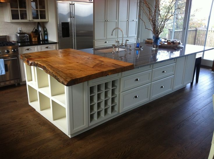 Live Edge Spruce Slab Kitchen Island Countertop With Wide