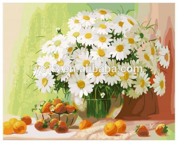 White chrysanthemum DIY painting by numbers