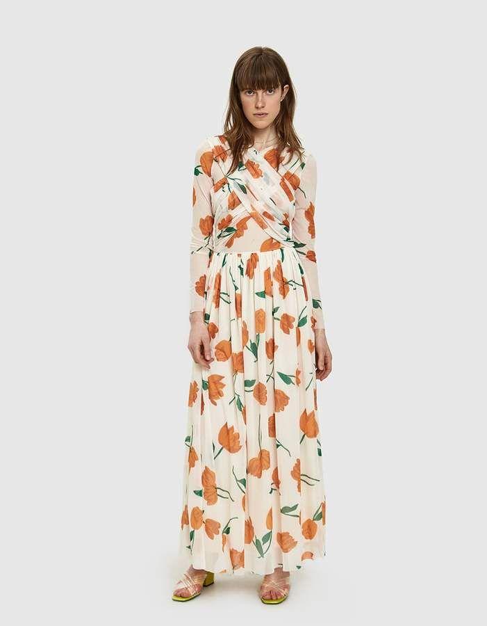 Ganni Tilden Mesh Crossfront Maxi Dress Maxi Dress Dresses Ganni Dress