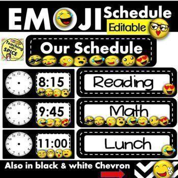 EMOJI Schedule Cards EDITABLE- Back to school