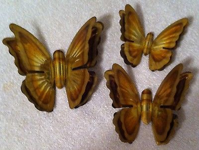 Homco Home Interiors Three Gold Metal Butterflies Vintage Wall Decor Accents