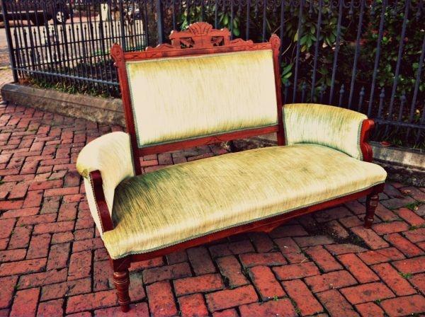 Richmond: Antique Victorian Eastlake Green Velvet Walnut Settee $225 - http://furnishlyst.com/listings/1119083