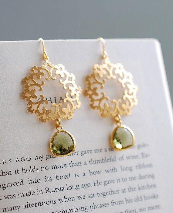 Gold Ornate Filigree Dark Olive Teardrop Glass Dangle Earrings, Olive Green Gold Chandelier Earrings, Boho Bohemian,  Moroccan earrings