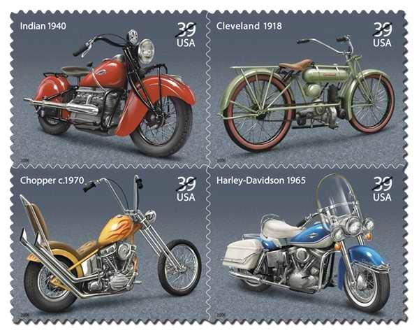 Commemorative Stamps vintage motorcycles US Harley Davidson