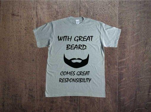 with great beard comes great responsibility; men t-shirt text; nadruk na koszulce; t-shirt z napisem; moda męska