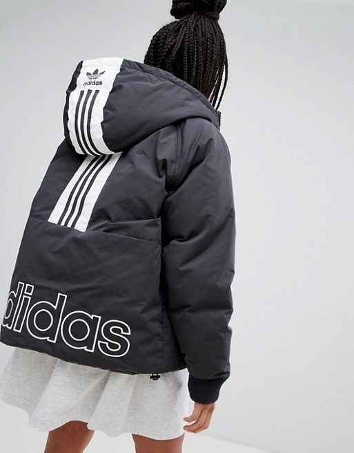 2ecf3886b8b9 adidas Originals Short Down Filled Jacket In Black in 2019 ...