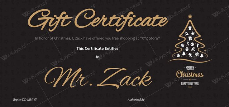 Free gift certificate template for Christmas
