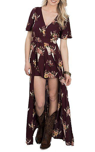 8c7f4be6930 Angie Women s Maroon Steer Print Maxi Romper Dress