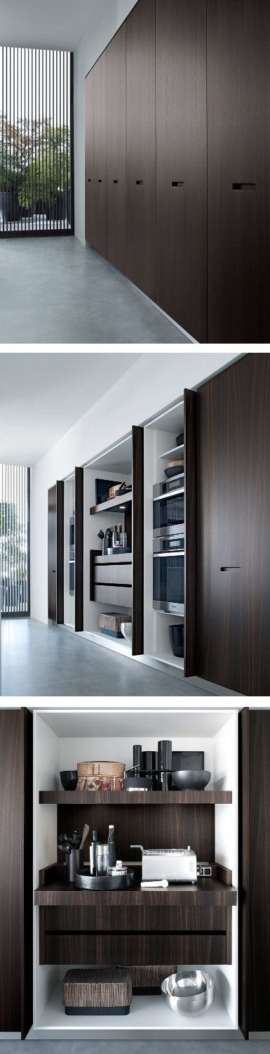 Lacquered linear wooden kitchen KYTON by Varenna by @poliformvarenna