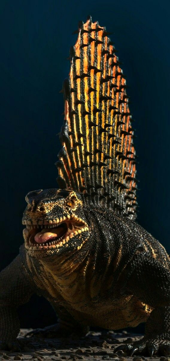 """Edaphosaurus, meaning """"pavement lizard"""" for dense clusters of teeth) is agenusofextinctedaphosauridsynapsidthat lived around 300 to 280million years ago, during the lateCarboniferousto earlyPermianperiods. TheAmericanpaleontologistEdward Drinker Copefirst describedEdaphosaurusin 1882,naming it for the """"dental pavement"""" on both the upper and lower jaws,(""""groun/sauros(""""lizard"""")"""