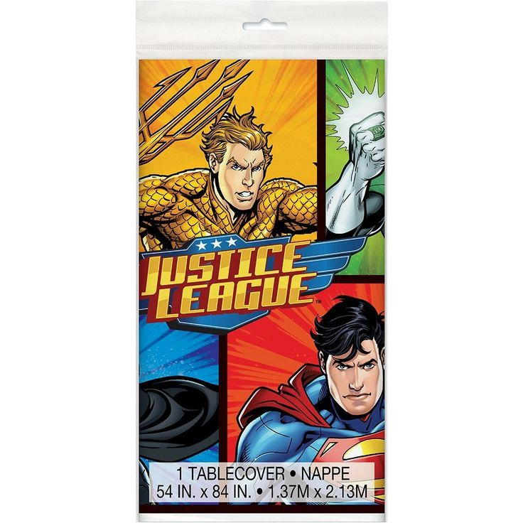 "Justice League Plastic Tablecloth, 84"" x 54"": Amazon.ca: Toys & Games"