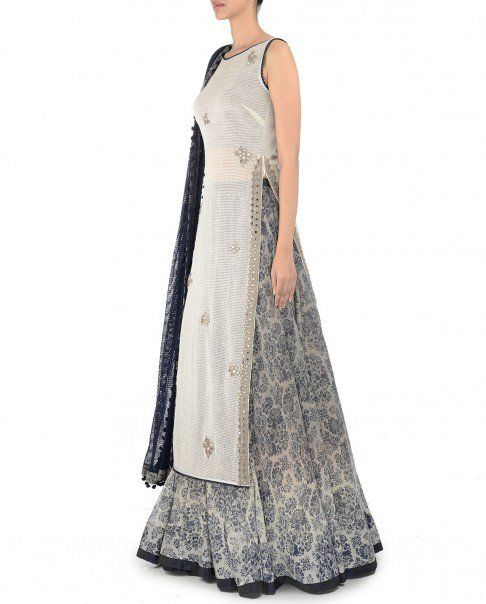Ivory Mirror Work Tunic with Navy Blue Lengha - Lenghas - Apparel