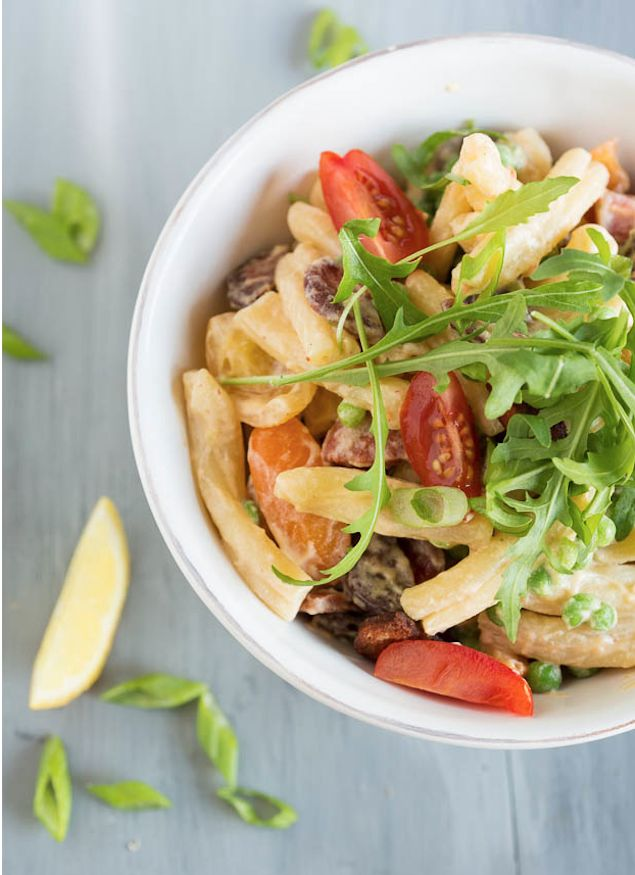 Marscapone Pasta with Chorizo - cold pasta side dish