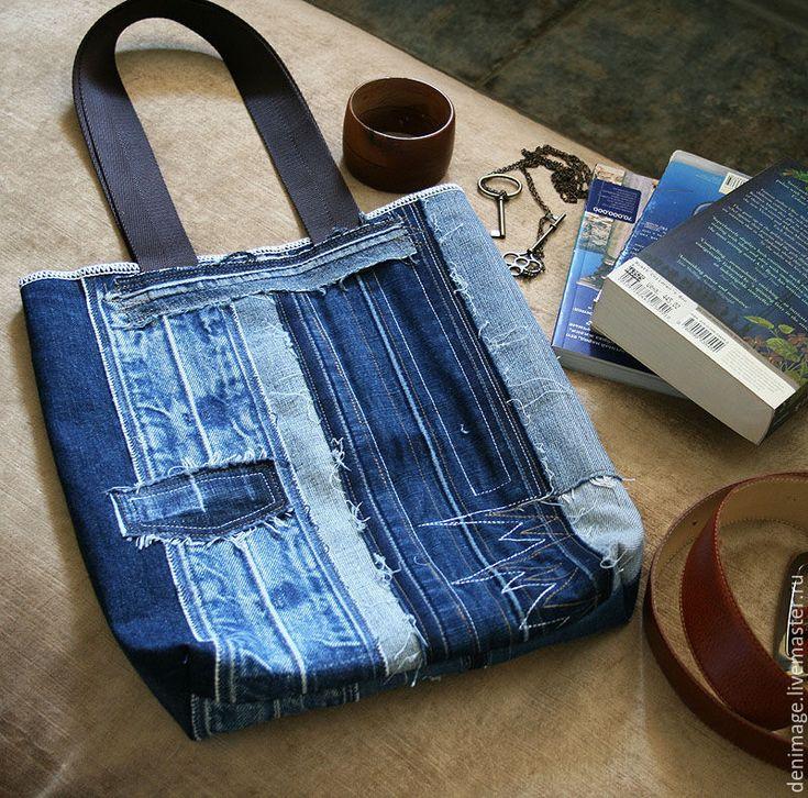 """Купить Сумка """"Джинсовые полосы"""" - джинсовая сумка, джинсовый стиль, стиль хиппи…"""