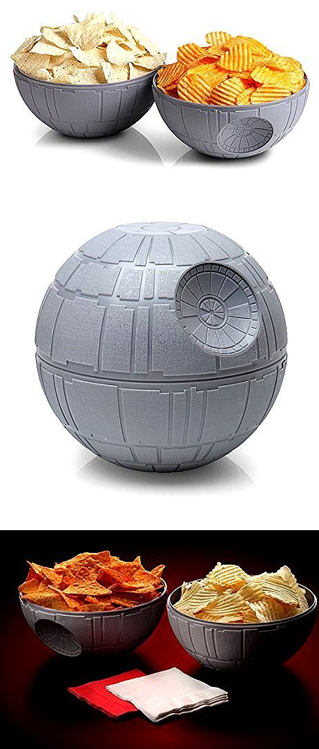 Serve your favorite snacks and give your guests an out-of-this-world party experience with this Death Star chip and dip bowls. Check it out==> http://gwyl.io/star-wars-death-star-chip-and-dip-bowls/