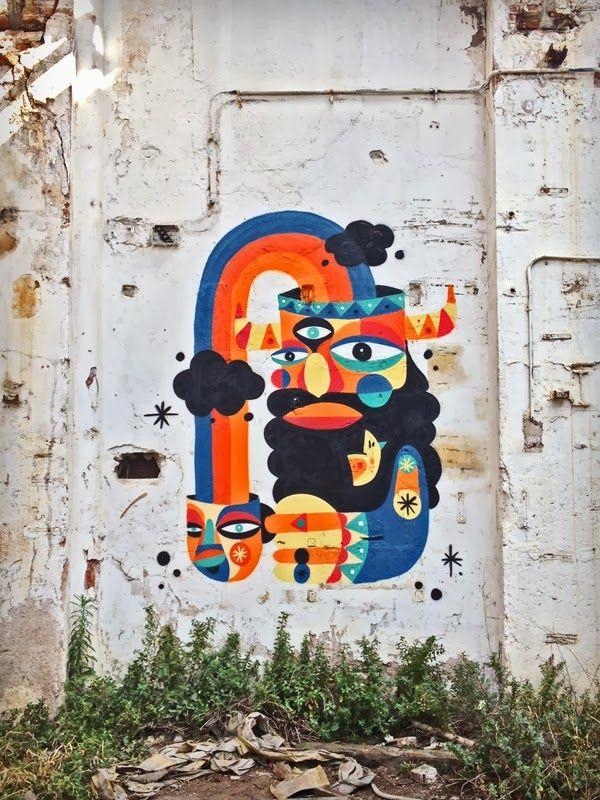 """Urban art by Ruben Sanchez in Barcelona, Spain """"Astral Breakfast"""""""