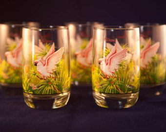 Tropical Cocktail Glasses by fishbellyantiques on Etsy