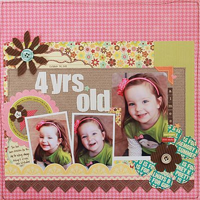 4 yrs old layout from Becky Williams via Jillibean Soup blog.  Becky cut flowers from our New Corrugated Sheets.