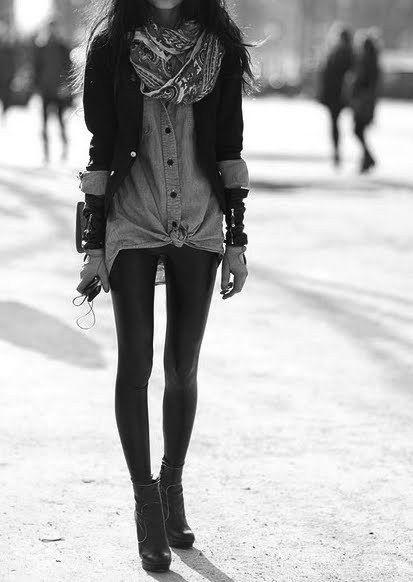 jacket, button-up, scarf, leggings, wedge boots, bracelets