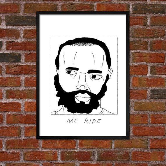 Badly Drawn MC Ride  Hip Hop Poster  Death by BadlyDrawnRappers