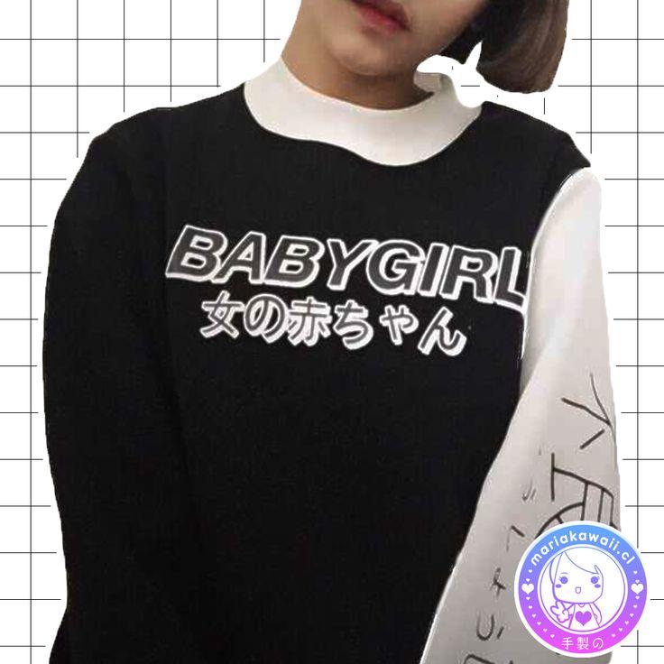 María Kawaii Store - Polerón Baby Girl Black & White