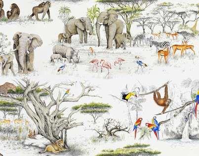 Inspiré de la réserve naturelle située au sud-ouest du Kenya, ce dessin retranscrit un monde animal paisible où pachydermes, primates et perroquets se côtoient pacifiquement. Papier peint non émargé vendu au mètre. Support intissé.Euroclass B-s1-d0.