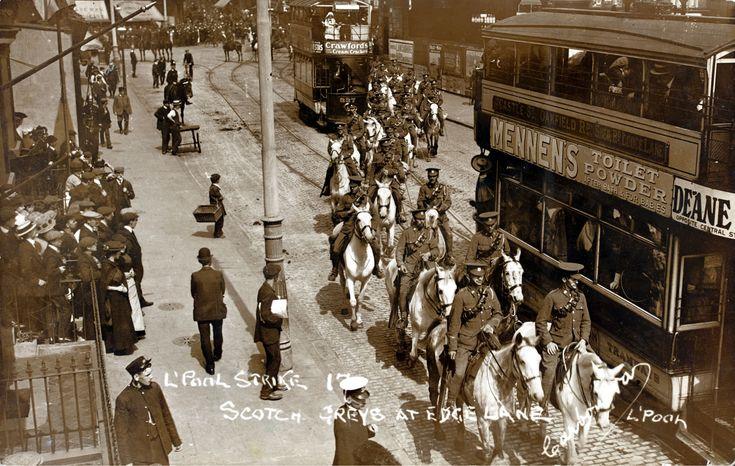 1911 TRANSPORT STRIKE, MOUNTED TROOPS BETWEEN THE TRAMS AT EDGE LANE.jpg