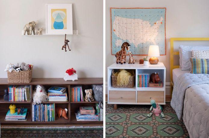 San Francisco Interior Design company Regan Baker Design -  Dolores Heights Traditional Modern Kids Bedroom, Midcentury Modern, Yellow Bed, Colorful Bedroom, Bookshelves, Large Storage Nightstand
