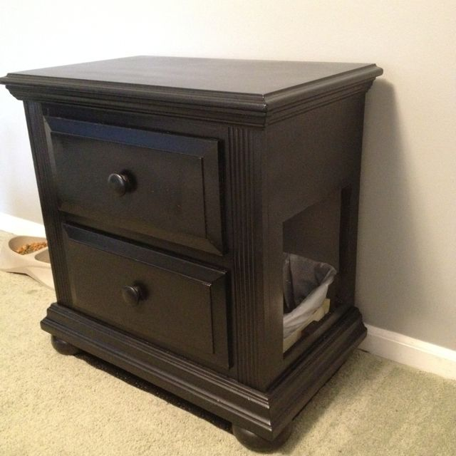 Hidden litter box... We definitely need one of these....anyone have an old nightstand?