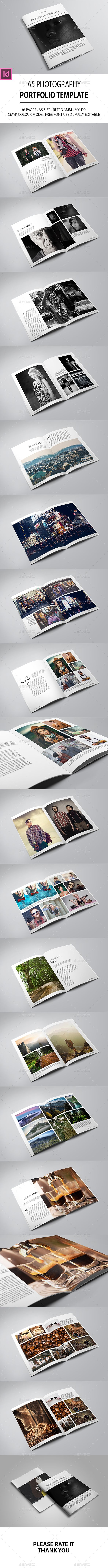A5 Photography Portfolio Design Template - Photo Albums Print Templates InDesign INDD. Download here: https://graphicriver.net/item/a5-photography-portfolio/17021671?s_rank=12&ref=yinkira