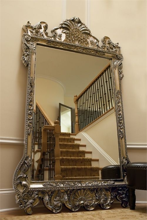 Xl 84 ornate wall floor mirror antique silver leaf w for Floor wall mirror