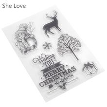 She Love Clear Stamp for Scrapbooking Merry Christmas Gift Snowman Transparent Silicone Rubber DIY Photo Album Decor(China (Mainland))