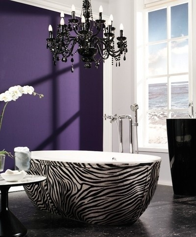 Ingredients 4 A Glamorous Bathroom ~ Black Chandelier, Purple Wall, & Zebra Tub!  Who Knew They Made ZEBRA Tubs?? Cool!  I Am Currently Working On Re-Doing My Bathroom In A Lighter Purple & Zebra, And Have Been Thinking Of A Black Chandelier!  Now, I KNOW I AM Going To Decorate It That Way! :)))