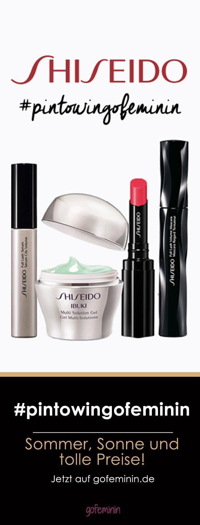 Sommer, Sonne & tolle Preise! Mach mit bei unserem großen Pinterest-Gewinnspiel und gewinne im August jede Woche ein Beautypaket von Shiseido.  #gofeminin #pintowingofeminin