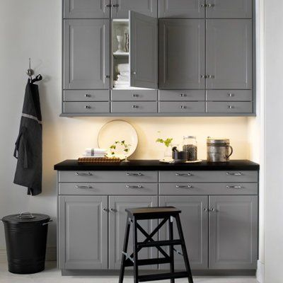 fa on atelier d 39 antan avec les fa ades bobbyn gris metod ikea ikea sektion kitchen. Black Bedroom Furniture Sets. Home Design Ideas