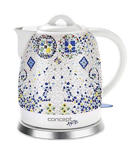 CONCEPT Hausgeräte RK 0020 Keramik Wasserkocher 1,5 Liter, Weiss Mit Muster,