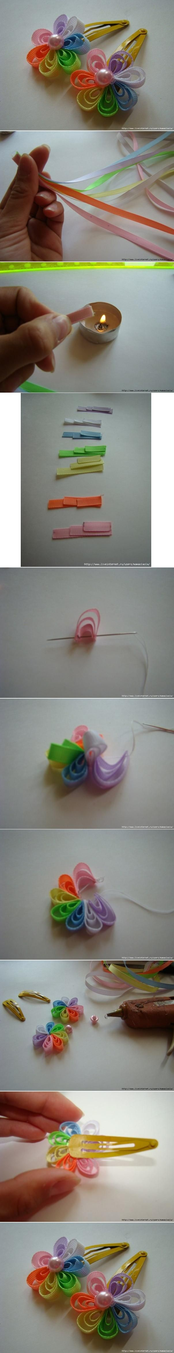 Ribbon hair clip. These are super cute.