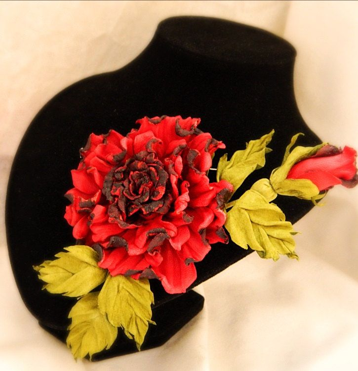 Leather flowers Red Rose Carmen, leather anniversary, red rose corsage, leather gift for her, rose brooch, leather jewelry, leather rose.MI by FeltSilkArtGift on Etsy