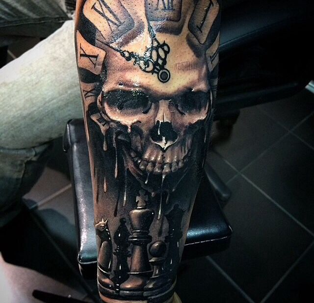 skull tattoo with chess board skulls tattoos pinterest skulls skull tattoos and tattoos. Black Bedroom Furniture Sets. Home Design Ideas