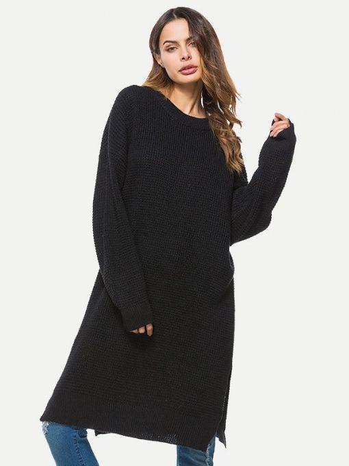 c51e2d06cec Vinfemass Solid Color Loose Slit Side Sweater Dress