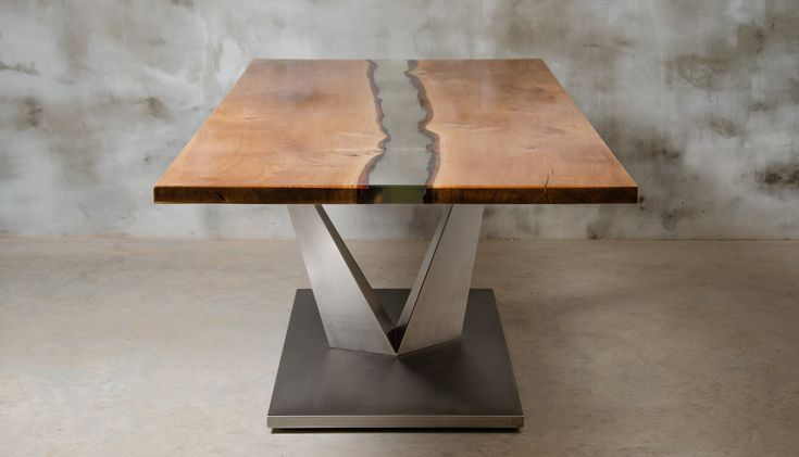 Live edge table made of oak wood, epoxy table with brushed steel, UV resin table, modern dining river table, italian style