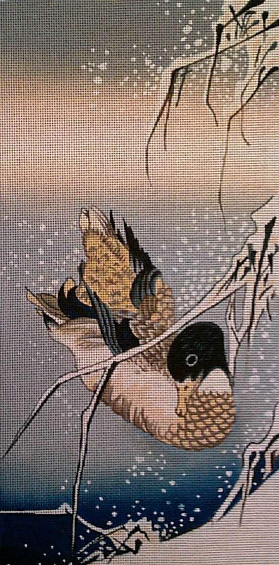 Needlepoint Duck By Hiroshige