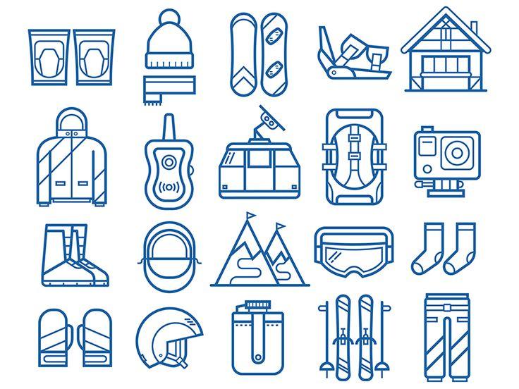 Snowboard and Ski Equipment Icons