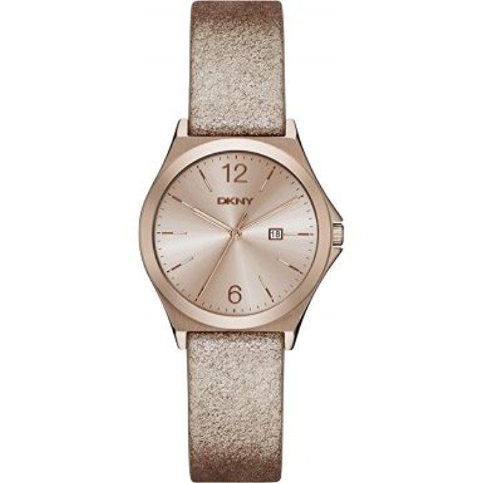 DKNY NY2372 PARSONS Uhr Damenuhr Lederarmband Edelstahl 50m Analog Datum gold