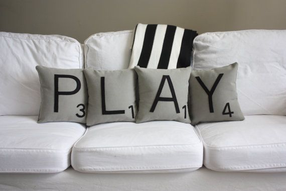 PLAY Scrabble Pillows - CASES ONLY // Scrabble Tile Pillows // Letter Pillow Covers // Cushion Covers // Playroom // Farmhouse Style *********************** ANNOUNCEMENT: This item is handmade to order and may require 3-5 days to make BEFORE IT SHIPS. Worried about whether it will