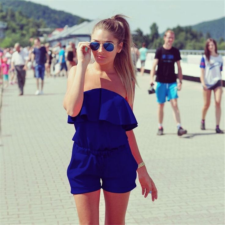 2016 Casual Women Rompers and Jumpsuit Sexy Playsuits Strapless Fashion Solid Candy Color Summer Shorts Bodysuits Free Shipping