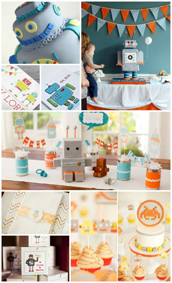 Robot Baby Shower #BeautifulBabyShower #baby #shower #pinparty