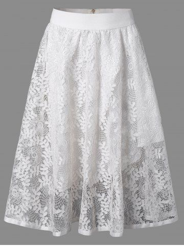 Leaf Jacquard Openwork Lace Double-Deck Skirt - WHITE ONE SIZE
